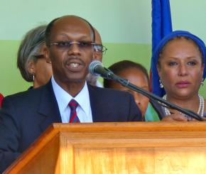 Jean-Bertrand Aristide makes a speech after his return to Haiti