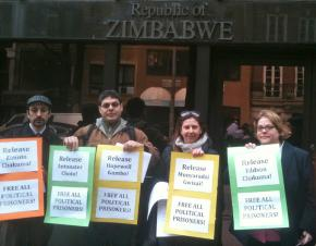 Picketers show their solidarity outside the Zimbabwean mission in New York City