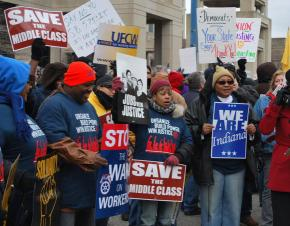 Union members protest at the Indiana statehouse against right-to-work legislation
