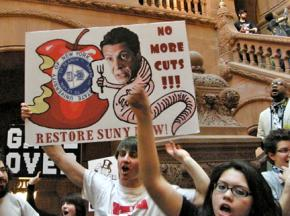 Hundreds of protesters took their demands inside the Capitol building in Albany, N.Y.