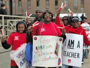 Chicago teachers participate in the nationwide We Are One protests to defend public-sector workers in April