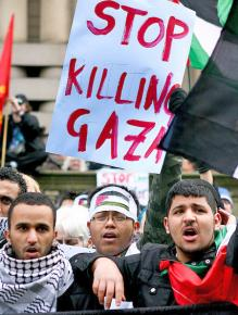 Solidarity activists march for an end to Israel's devastation of Gaza