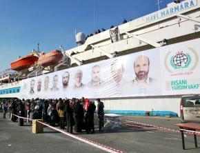 The Mavi Marmara, the lead boat in last year's Gaza Freedom Flotilla, docked in Istanbul