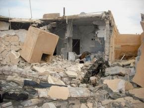 "A Libyan home destroyed in the course of intensified bombing since the western ""humanitarian"" intervention began"