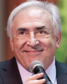 Dominique Strauss-Kahn speaking at an IMF event in April