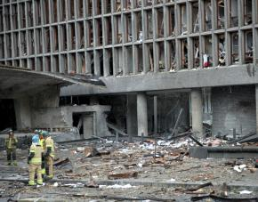 The remains of the Norway's prime minister's office after Anders Breivik's terror attack