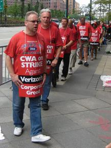 Verizon workers on the picket line on the first day of the CWA strike