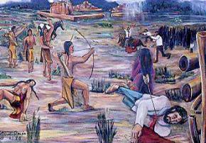 An artists' portrayal of the Pueblo Revolt