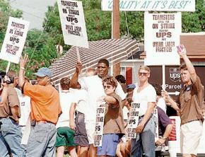 Teamsters on strike against UPS in 1997