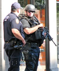 Heavily armed New York police officers on the streets