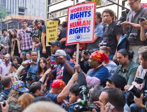 Members of Transit Workers Union Local 100 address the crowd at the Occupy Wall Street encampment