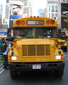 A school bus makes a stop in Manhattan