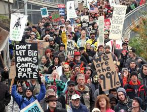 New York occupiers and supporters march on a mass day of action on November 17