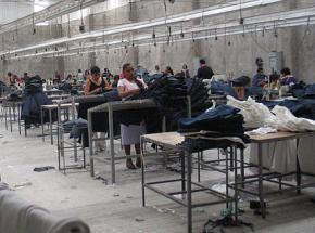 A maquiladora producing clothing for the U.S. market