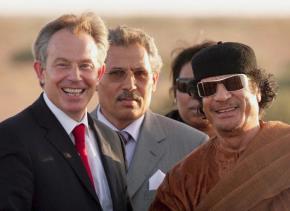 Former British Prime Minister Tony Blair with then-ally Muammar el-Qaddafi