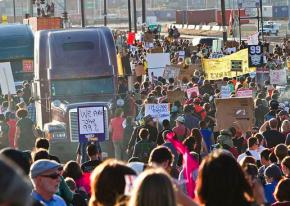 Occupy Oakland protesters on the way to picket at the Port of Oakland
