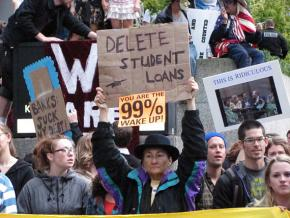 Protesters march at Occupy Seattle