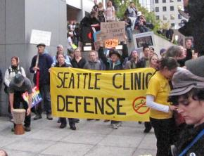 Seattle abortion rights activist join in an Occupy Seattle protest