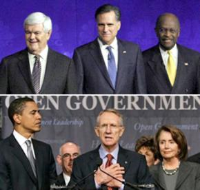 Republican presidential contenders New Gingrich, Mitt Romney, and Herman Cain (above) and Democrats Barack Obama, Harry Reid and Nancy Pelosi (below)