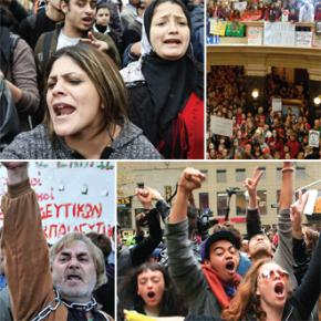 The year of revolt: clockwise from top right, Egypt, Wisconsin, Occupy Wall Street and Greece