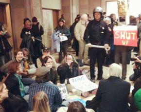 Protesters crowd City Hall as the Chicago City Council votes for repression