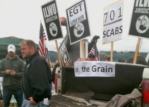 ILWU members picket on the docks in Longview, Wash.