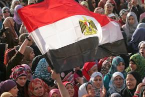 Women gather in Tahrir Square to protest the brutality of the military crackdown