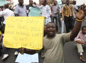 Protesters fill the streets in Lagos during a national strike against fuel price hikes
