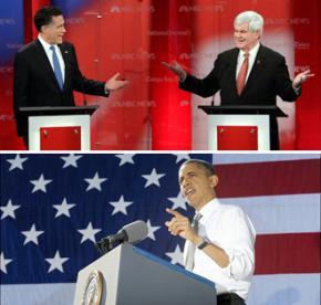 Mitt Romney, Newt Gingrich and Barack Obama