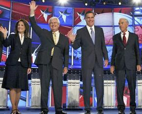Republican candidates Michele Bachmann, Newt Gingrich, Mitt Romney and Ron Paul at a debate