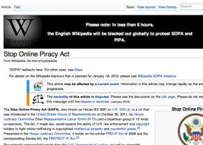 Wikipedia and other websites prepare to shut down in protest of SOPA