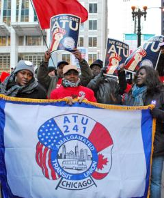 Chicago transit workers march with Occupy Chicago against budget cuts and concession demands