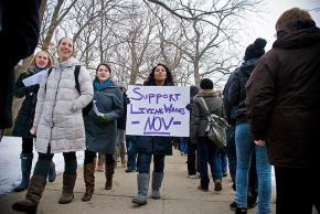Northwestern students holding a picket as part of the living wage campaign