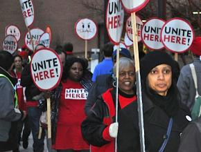 Union supporters at a rally called by UNITE HERE against the Hyatt Regency in Indianapolis
