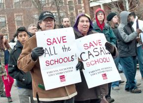Parents, students, community groups and teachers and occupiers protest school closures and turnarounds in Chicago