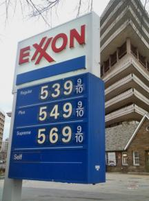 Gas prices soar at an Exxon station in Washington, D.C.