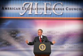 George W. Bush speaks to a meeting of the American Legislative Exchange Council