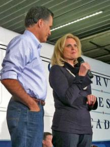 Ann Romney addresses her husband's supporters at a campaign rally