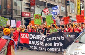 Students on the march through Montreal
