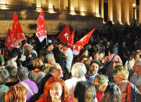 Crowds of SYRIZA supporters gathered in Syntagma Square in Athens to celebrate the election result