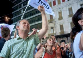 SYRIZA supporters gather in the streets to mark the results of a second parliamentary election