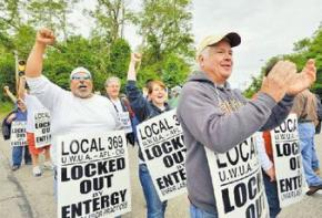 Locked-out workers rally outside the Pilgrim Nuclear Power plant