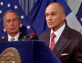 NYPD Commissioner Ray Kelly speaks as Mayor Michael Bloomberg looks on