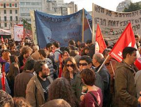 Workers gathered in the streets of Athens during one in a series of general strikes