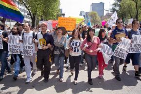 YoSoy#132 protesters march through Mexico City against the fraudulent election of Enrique Peña Nieto