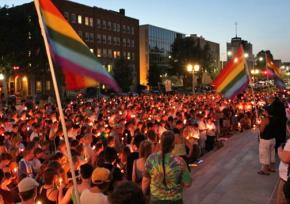 Hundreds of people gathered in Lincoln, Neb., for a candlelight vigil for a hate crime victim