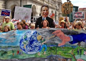 Hundreds of protesters march in New York's capital of Albany against fracking