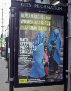 Amnesty International's pro-occupation ad on a Chicago bus shelter
