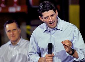 Paul Ryan speaks as Mitt Romney looks on