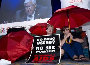 Protesting the opening ceremony of the 19th International AIDS Conference